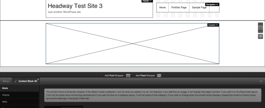 Using Headway's Content Block to Create Woothemes Hub Content Area